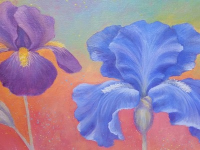 Iris Flower Acrylic Painting Instruction | How to Paint Irises | Angelooney Floral