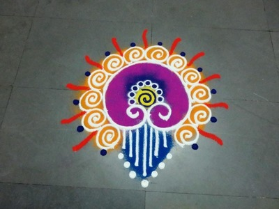 Small and easy Sanskarbharti colourful  rangoli designs.kolam.muggulu  with  step by step