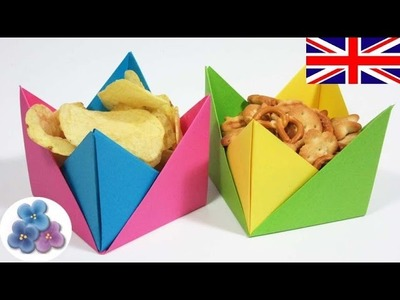 Easy Origami Container. Origami Paper Bowl. Origami Candy Dish Mathie