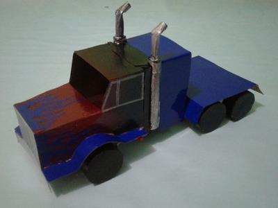 How To Make Paper Car Truck OPTIMUS PRIME is Cool | Cara Membuat Mainan Mobil Transformer
