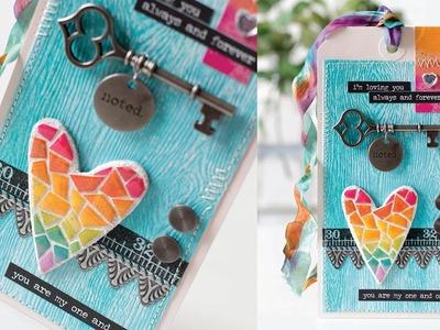 Tile Heart Tag Using the Distress Paper Mosaic Kit