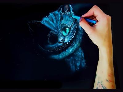 Tim Burton's Cheshire cat drawing on black paper