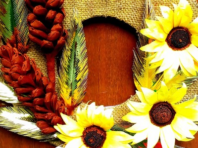 DIY Autumn Wreath of Paper Sunflowers and Pine cones