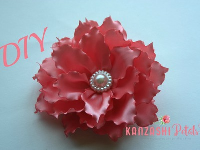 DIY big ribbon flower hair clip.Satin flower tutorial
