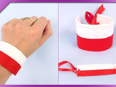 DIY Easiest felt wristband (ENG Subtitles) - Speed up #223