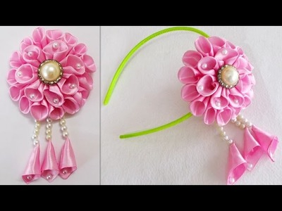 DIY for Girls : How to Make Kanzashi Beads Satin Ribbon Flower | Hair Accessories