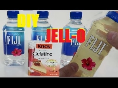 DIY GUMMY WATER BOTTLE Fiji Shape Jelly -  How to make real Drinking water Pudding Jello