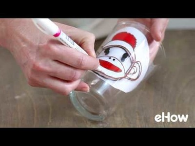 DIY Hand Painted Sock Monkey Glass
