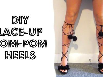 DIY LACE-UP POM-POM HEELS!