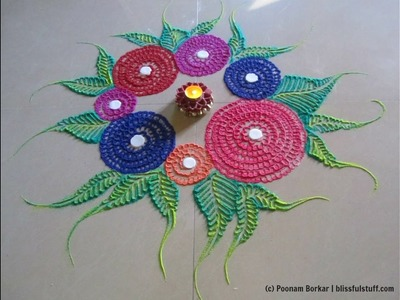 Easy and quick rangoli | Innovative rangoli designs by Poonam Borkar