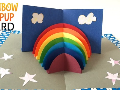 "Tutorial to make ""RAINBOW Stand Up POPUP Card"" - DIY"