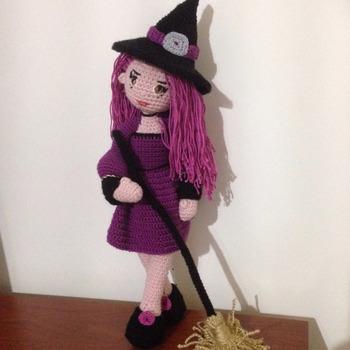 Crochet Pattern Cute Witch Samantha Doll Amigurumi Pdf