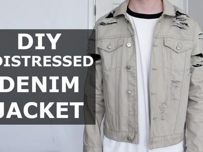 DIY Distressed Denim Jacket | Stone, Khaki, Ripped, Affordable, Easy | Gallucks
