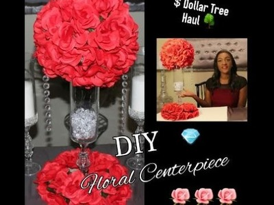 DIY DOLLAR TREE RED FLORAL ARRANGEMENT CENTERPIECE| KISSING BALL| WEDDING DECOR TUTORIAL
