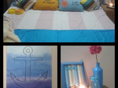 DIY easy room decor.pom-poms.white board frame.dream catcher with photo grid.