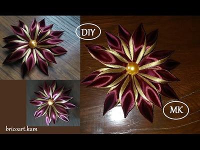 DIY.MK.Tutorial.Kanzashi flower red&gold - bricoart.kam