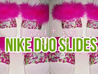 DIY   Nike Duo Bling.Fur Slides