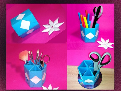 DIY Origami Hexagonal Makeup Brush Holders. DIY Makeup Organizer