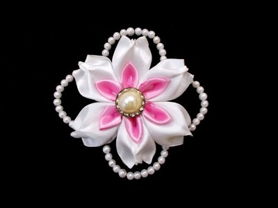Kanzashi Flowers with Beads : How To Make DIY Satin Ribbon Flower | Wedding Hair Accessories
