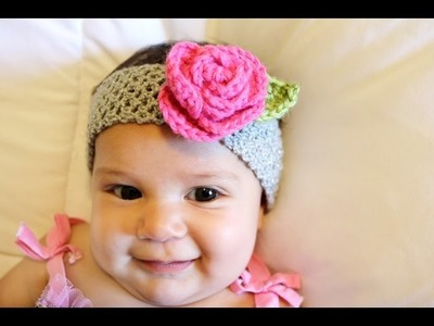 Crochet Glama's Stretchy Rose Headband