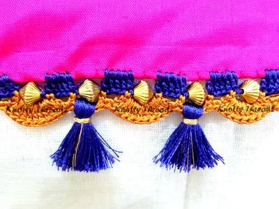 Crochet | Kuchu | How to do Krosha Saree Kuchu with Beads
