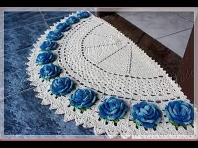 Crochet Video Tutorial, Tapete meia lua Rosas Crochê (WOC)
