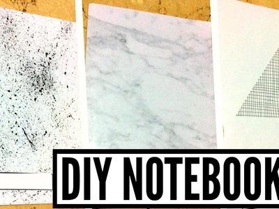 DIY Black & White Tumblr Notebooks | Geometric, Marble And Paint Splash