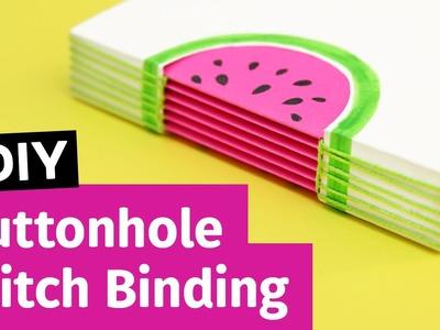DIY Buttonhole Stitch Bookbinding | Watermelon Notebook | Sea Lemon