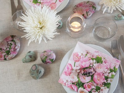 DIY: Decoupage on large pebbles by Søstrene Grene