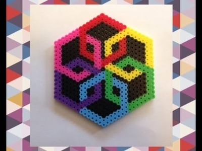DIY Perler Bead Geometric Design Tutorial.Satisfying Optical Illusion Perler Bead Creation!!