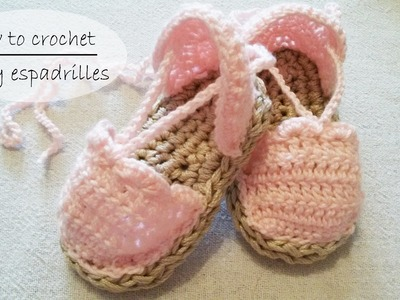 How to crochet baby shoes. baby espadrilles. baby sandals PART 1 of 2