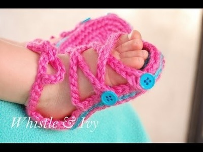 How to Crochet girls sandals - Button gladiator sandals crochet pattern