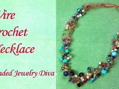 Wire Crochet Tutorial:  Freeform Wire Crochet Necklace