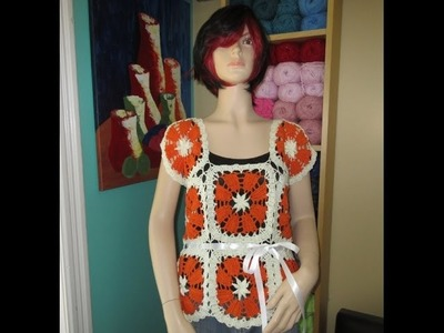 Crochet bruges lace summer blouse Dalia with Ruby Stedman