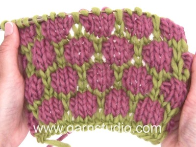 DROPS Knitting Tutorial: How to work Blister check.Coin stitch pattern
