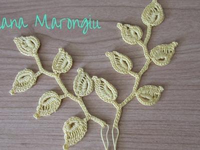 Elemento decorativo : ramo e foglie all'uncinetto - Tutorial Irish Crochet