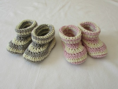 How to crochet children's cuffed booties. shoes. slippers