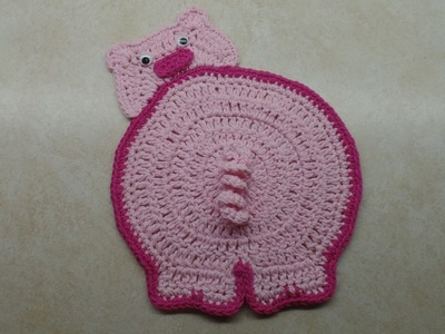 How To #Crochet Piggy Butt Potholder #TUTORIAL #323