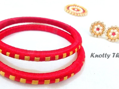 How to make Silk Thread Bangles - Checkered !!