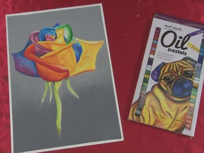 Art lesson:  How to paint a Rainbow Rose with Oil PastelsOil pastels