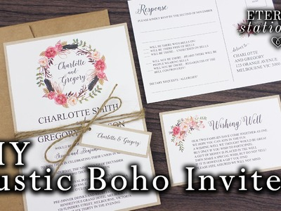 How to make a rustic. boho floral wreath wedding invitation