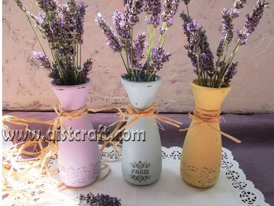How to paint jars with chalk paint tutorial for beginners. Fast image transfer. Vintage Shabby
