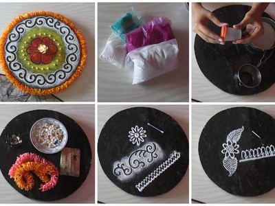 Rangoli colors | Rangoli making tools and how to use them | Accessorizing Rangoli designs