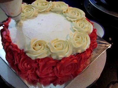 Anniversary Rose Cake with Whipped Cream | How to make Rose Swirl Cake with No Fondant in Hindi
