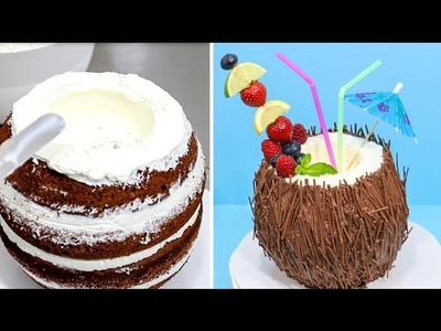 Coconut Cocktail Chocolate Cake  - How To by CakesStepbyStep