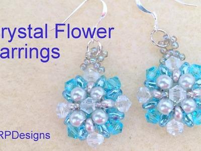 Crystal flower Earrings--Beginner Level