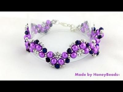 Half Moon Bracelet Beading Tutorial by HoneyBeads1 #beading #tutorial