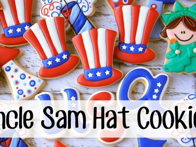 How To Make a Decorated Uncle Sam Hat Sugar Cookie
