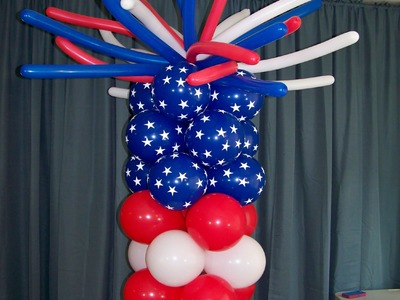"How To Make A ""Fireworks"" Balloon Tower - Patriotic Party Ideas"