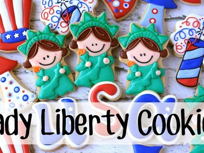 How to make decorated Statue of Liberty cookies -- cookie decorating tutorial